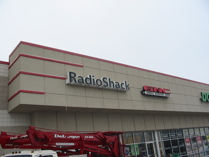 Radio Shack Sign Installation